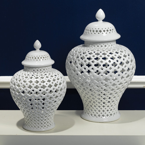 Carthage Pierced Covered Lantern Large by Two's Company® eclectic-candles-and-candleholders