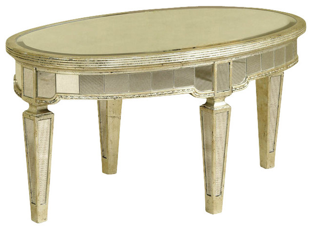 Bassett Mirror 8311 141 Borghese Mirrored Oval Cocktail Table Contemporary Coffee Tables