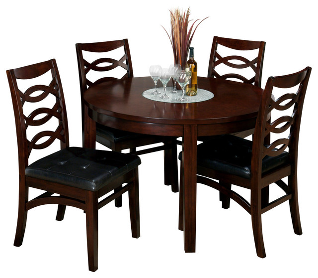 Jofran 863 48 chadwick 5 piece round dining room set in for Traditional round dining room sets