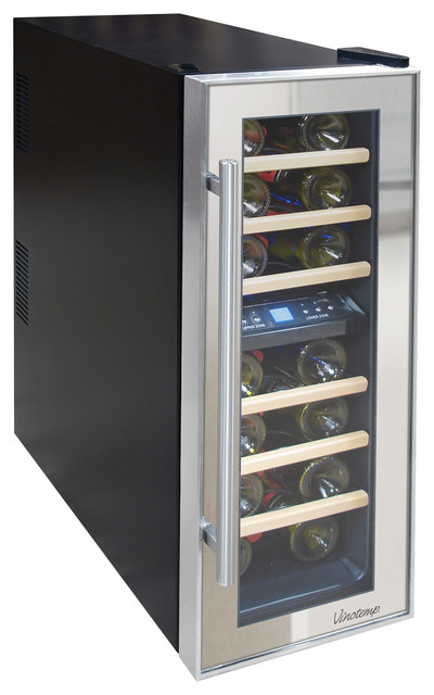 21-Bottle Dual-Zone Thermoelectric Mirrored Wine Cooler modern-beer-and-wine-refrigerators