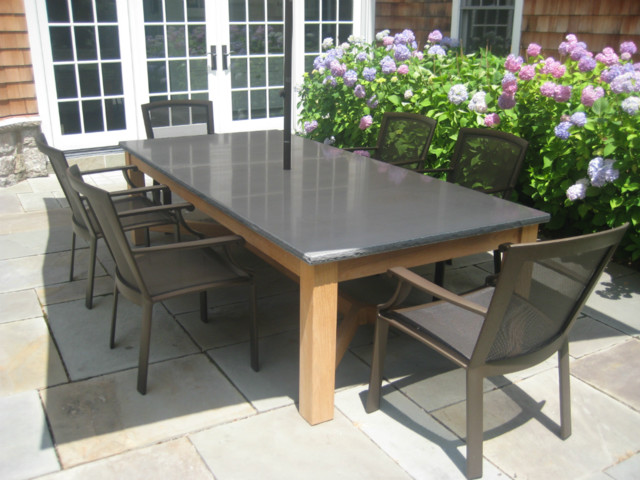 Blue stone and teak dining table Modern Outdoor