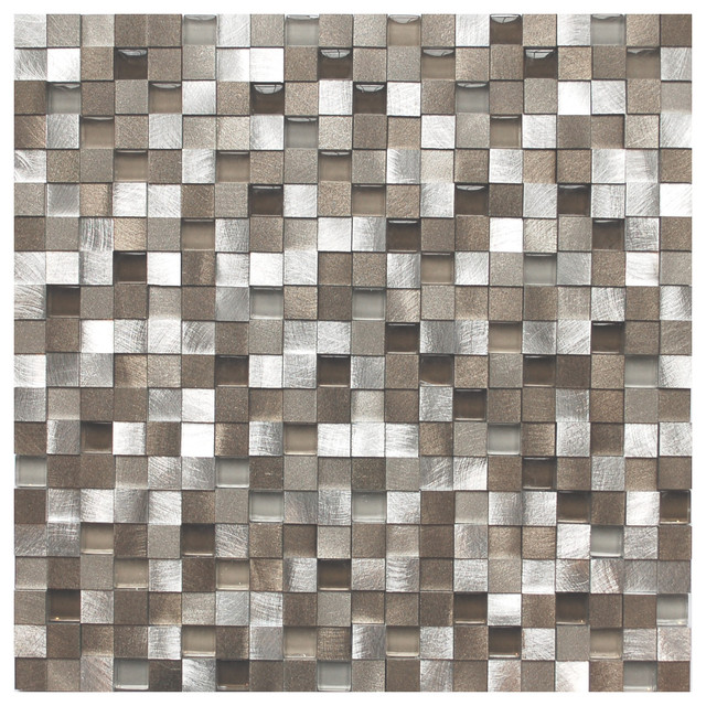 Eden Mosaic Tile 3D Silver And Pewter Aluminum Square Mosaic Tile ...