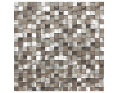 3D Silver And Pewter Aluminum Square Mosaic Tile contemporary-tile