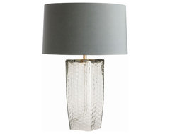 Fillmore Smoke Glass Lamp With Dusty Blue Shade modern table lamps