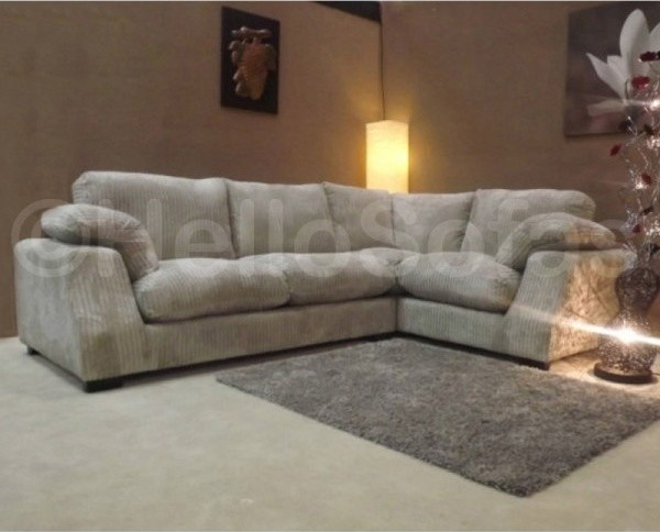 Panama Fabric Corner Sofa Cream Formal Back Contemporary