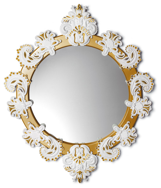 Lladro Round Mirror Small White Gold - Plus One Year Accidental Breakage Replace contemporary-wall-mirrors