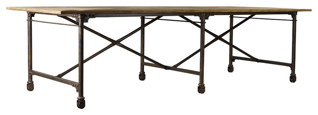 Architect Dining Table 106quot Steel Legs on Casters  : eclectic dining tables from www.houzz.com size 640 x 232 jpeg 29kB