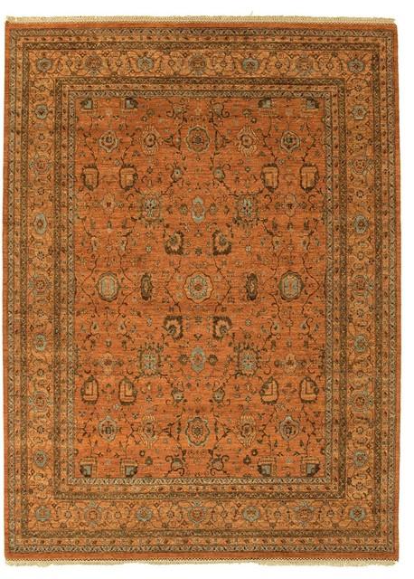 Hand Knotted Oriental Pattern Wool Orange Blue Area Rug