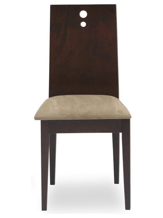 Bryght - Bella Light Brown Fabric Upholstered Light Cappuccino Dining Chair - The Bella dining chair offers sophistication with a modern twist through its contemporary design. The one piece, two-dimensional curved backrest accentuated by three solid stainless steel bolts and a firm padded seating offers sturdiness with dependable comfort.