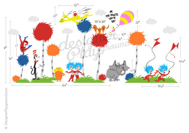 Dr seuss wall decal traditional kids decor for Dr seuss wall mural decals