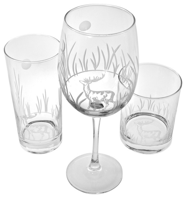 Deer White Wine Goblets traditional-cups-and-glassware