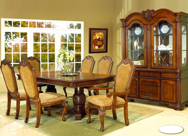 Formal cherry finish dining room set featuring fabric for Cherry formal dining room sets
