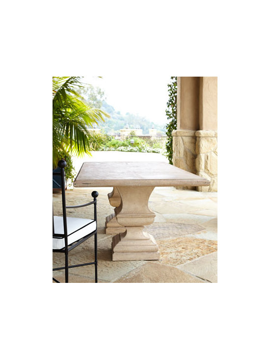 "Horchow - Urn-Base Table - Exclusively ours. Outdoor dining with double-urn base brings classic style to outdoor dining. Hand cast of crushed stone/polyester resin/styrene/fiberglass. Hand-painted lacquer finish. 86""W x 46""D x 29.25""T. Imported. Boxed weight, approximatel..."