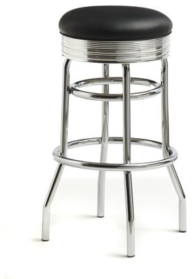 """Retro 30"""" Backless Swivel Barstool in Bright Chrome modern-bar-stools-and-counter-stools"""