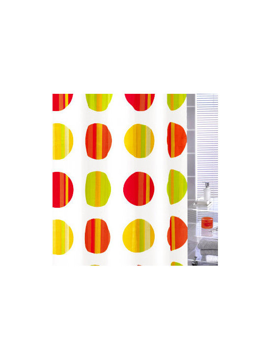 Point Fabric Shwer Curtain from Vita Futura - Our Point shower curtain has a design with 8 inch MULTI-COLOR circles and is offered in your choice of two color schemes:  jewel tones in deep yellow, bright lime green, red and rust / orange circles over a white background , or brown tones over a white background. Much like the shower curtains you find in many luxury hotels and spas, this shower curtain does not require the use of a shower curtain liner. Made of quick-dry and easy-care fabric.  Our shower curtains along with all of the products we offer, are designed and produced in Germany.