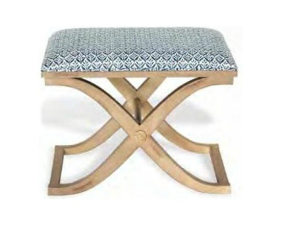 Port 68 - Port 68 Alex Antiqued Ivory Bench-Kari Navy - Finish: Antiqued Ivory