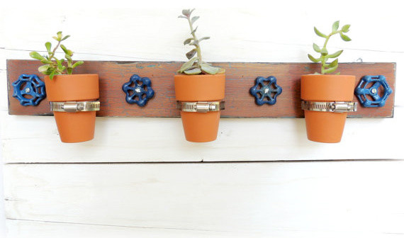 Hanging Planter, Vintage Faucet Handles by Reclaimed Grace contemporary-indoor-pots-and-planters