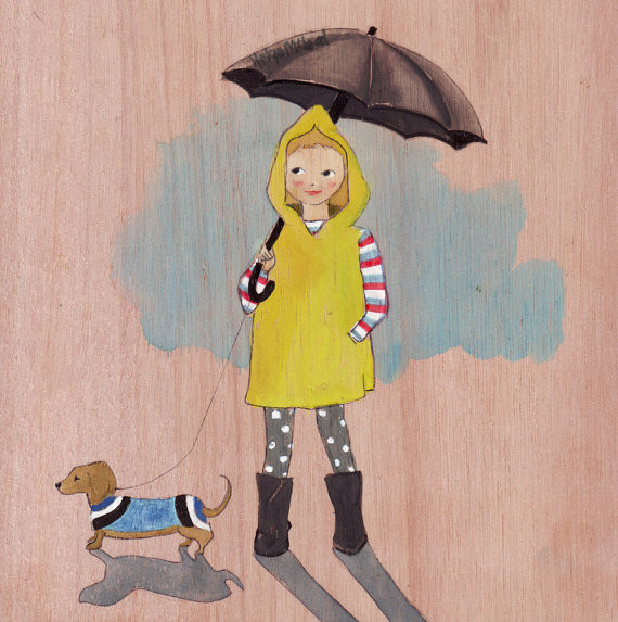 Girl And Daschund By Helga McLeod contemporary-artwork