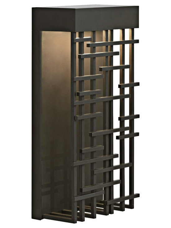 """LBL Lighting - Pier 60 Bronze 14 1/2"""" High LED Outdoor Wall Light - Featuring an Asian-inspired grill with a smart geometric pattern this outdoor wall light is an exceptional addition to your outdoor space. With a bronze finish this  clever design creates a delicate balance of light and shadow. The energy efficient LED light is suitable for wet locations. Bronze finish. Wet location listed. Includes one 9.6 watt LED bulb. Light output 600 lumens. 2700K warm color temperature. 14 1/2"""" high. 9"""" wide.  Bronze finish.   Wet location listed.   Includes one 9.6 watt LED bulb.   Light output 600 lumens.   California Title 24 compliant.  Comparable to a 50 watt incandescent bulb.  2700K warm color temperature.   14 1/2"""" high.  9"""" wide."""