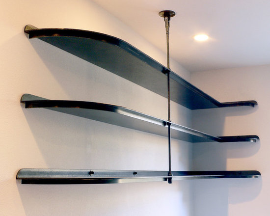 patinated metal shelving -