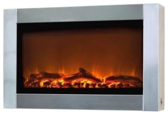 Fire Sense 31 in. Wall Mount Electric Fireplace in Stainless Steel 60758 contemporary-indoor-fireplaces