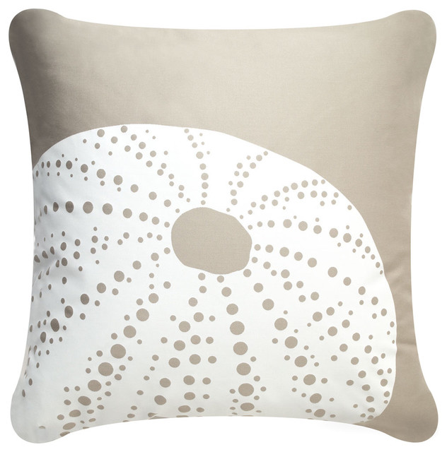 Urchin Modern Eco Coastal Throw Pillows, Shell White/Seagrass modern-decorative-pillows