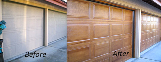 Garage doors facelift with a wood grain faux finish for Faux wood finish garage door
