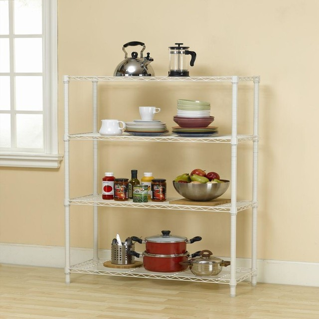 HDX Bookcases 36 in. x 14 in. 4-Tier Ivory Wire Shelf EH-WSTHDUS-004NI - Contemporary ...