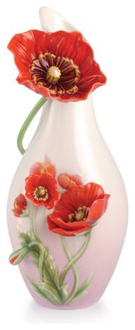 FRANZ PORCELAIN COLLECTION Glamorous Blossom Red Poppy Vase FZ03067 transitional-vases