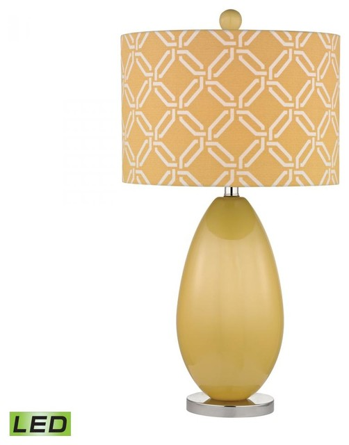 One Light Sunshine Yellow Yellow With White Pattern Print Linen Shade transitional-table-lamps