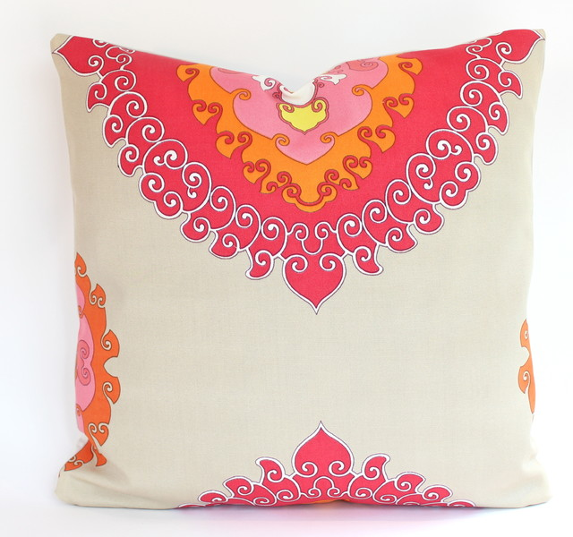 2 Trina Turk Outdoor Pillow Covers In Red Orange Pink