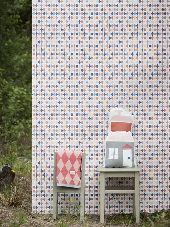 Ferm Living Happy Harlequin Wallpaper - Ferm Living's Wallpaper is graphic & whimsical adding character, charm and personality to any room. Wallpaper has a striking effect and will without a doubt turn your room into a sanctuary.