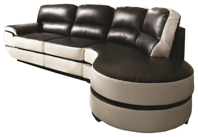 Coaster reese one arm sectional sofa with round chaise in for Sectional sofa with round chaise