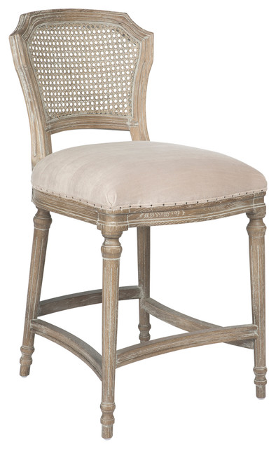 Camilla French Country Washed Ribbed Taupe Linen Counter
