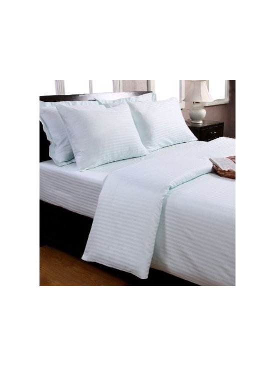 Duvet Cover and Pillowcase Set Blue (330 Thread Count) - Super soft, 100% cotton satin stripe top quality bed linen by Homescapes for top 5 star / 7 star hotels. Homescapes have 30 years' experience producing high quality bedding for top hotels and retailers all over the world.