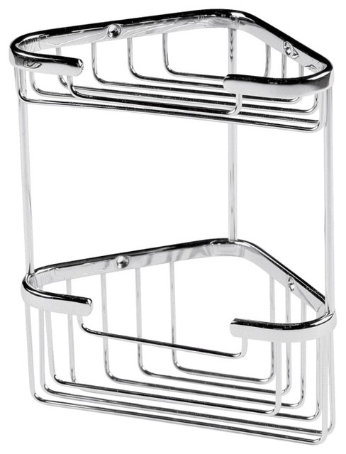 Small 2 Tier Corner Basket in Chrome Finish Bathroom Accessory contemporary-shower-caddies