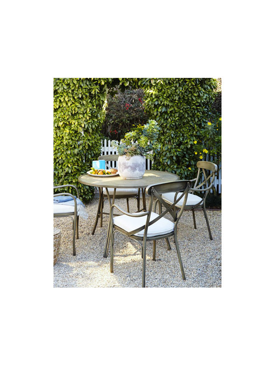 Horchow - Bordeaux Outdoor Bistro Dining Furniture - Classic European bistro dining furniture brings Continental flair to outdoor entertaining. Made of hand-wrought anodized steel plated for rust resistance Four-step hand-applied, weathered, powder-coat finish. Chair has Sunbrella® fabric upholste...
