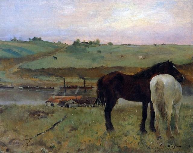 "Edgar Degas Horses in a Meadow - 16"" x 20"" Premium Archival Print traditional-artwork"
