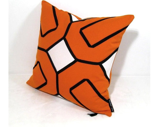 White on Orange Arabesk Outdoor Decor Cushion - Decorative and super modern orange pillow for the outdoor garden patio, boat or any stylish space, indoors or out! Several pieces of white Sunbrella fabric are appliqued onto Tuscan orange Sunbrella canvas and trimmed in a geometric lattice motif. Fully finished inside with a weatherproof reinforced zippered closure for easy machine washing. Cover or bring indoors when not in use for longevity.