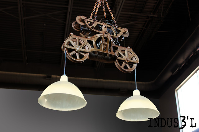 Suspension indus3 39 l poulie double de grange industrial pendant light - Grosse suspension luminaire ...