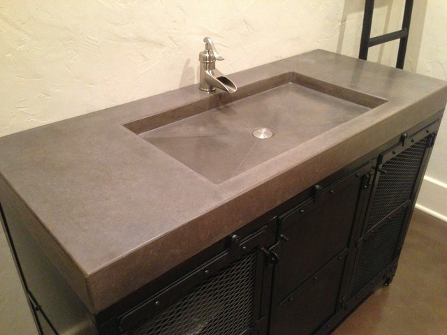 Concrete Counter Tops Contemporary Vanity And Side Splashes St Louis By Customcrete