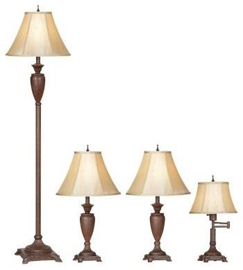 lighting the mercer collection 4 piece lamp set modern table lamps. Black Bedroom Furniture Sets. Home Design Ideas