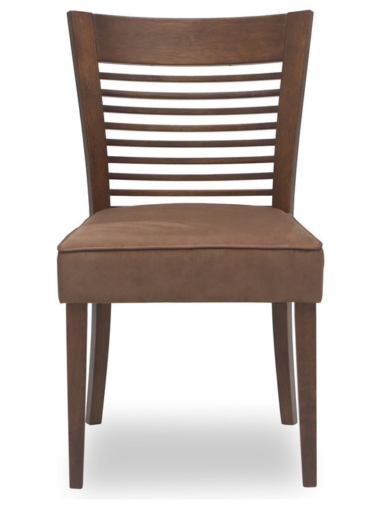 Bryght - Casey Brown Fabric Upholstered Cocoa Dining Chair - The Casey dining chair boasts a sleek well balanced appearance with its thick seat and solid wood sturdy wide back. The backrest draws a focal point with its slim wood panels that run horizontally making the Casey dining chair a gorgeous addition to any modern household.