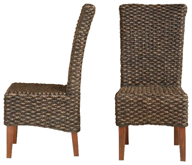 Modus Meadow Wicker Dining Chair in Brick Brown - Set of 2 [Set of 2] contemporary-outdoor-dining-chairs