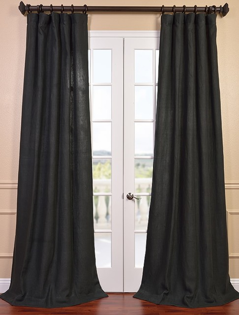 Carbon Grey French Linen Curtain Contemporary Curtains