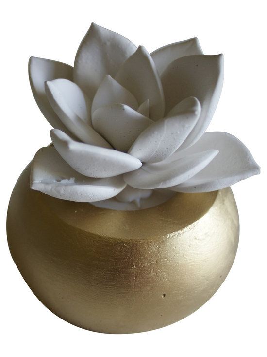 Waterstone Succulents - White Succulent Sculpture in Round Container, Gold - A handmade succulent sculpture with interchangeable container. The perfect accessory for the modern home or office, and a great gift for any occasion. Creates the feel of a live plant minus any of the maintenance. Beautiful as an individual decorative accessory or grouped into sets of 3 or more.