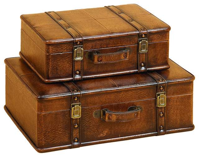 Leather decorative trunk cases and storage accent decor 2 - Decorative trunks and boxes ...