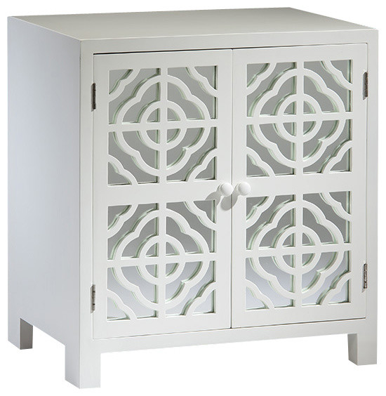 White Mirrored Cabinet - Traditional - Nightstands And ...