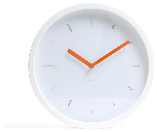 Wall Clock, White - Modern - Clocks