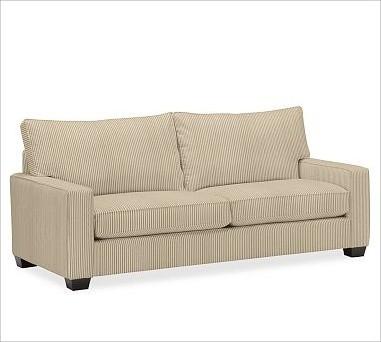 PB Comfort Square UpholsteredGrand SofaTicking StripeBrownstoneUpholsteredDown B traditional-sofas